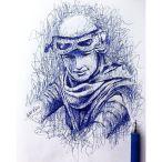 Desenho que recebeu like da própria atriz Daisy Ridley. Caneta esferográfica.
